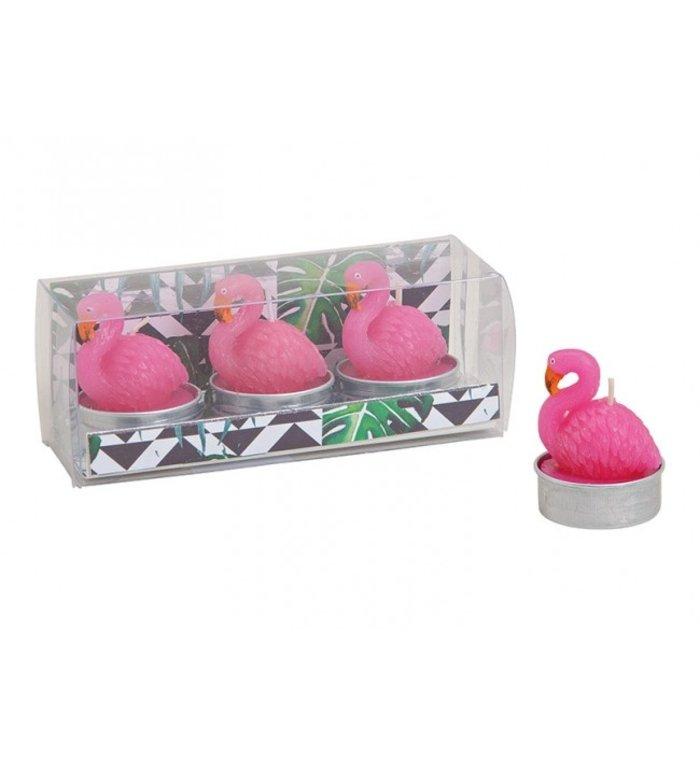 Set van 3 Flamingo waxinelichtjes