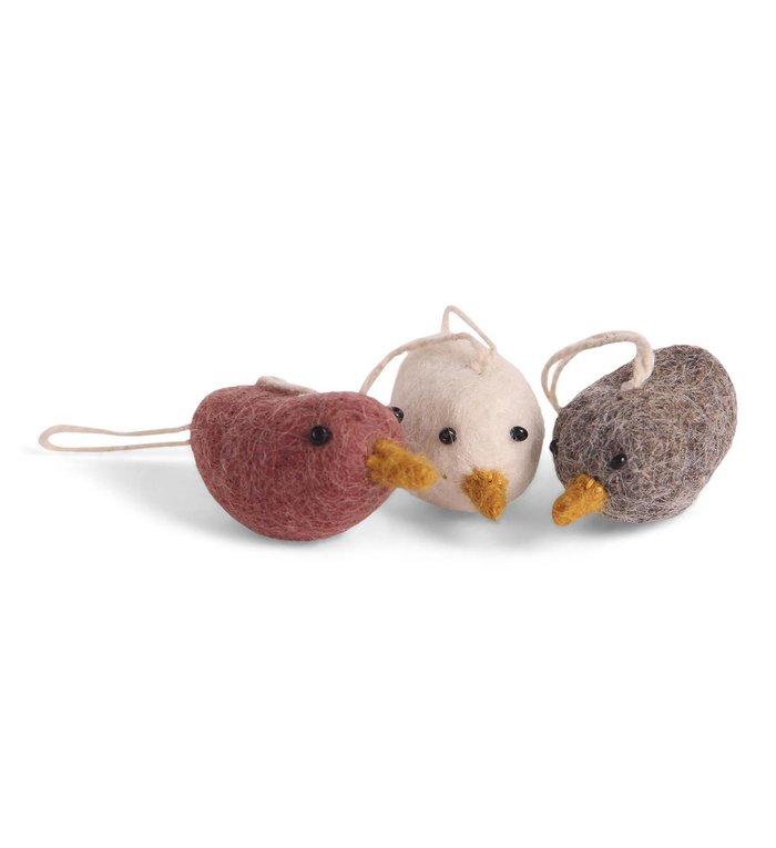 Én Gry & Sif 3 handgemaakte vilten vogel hangertjes