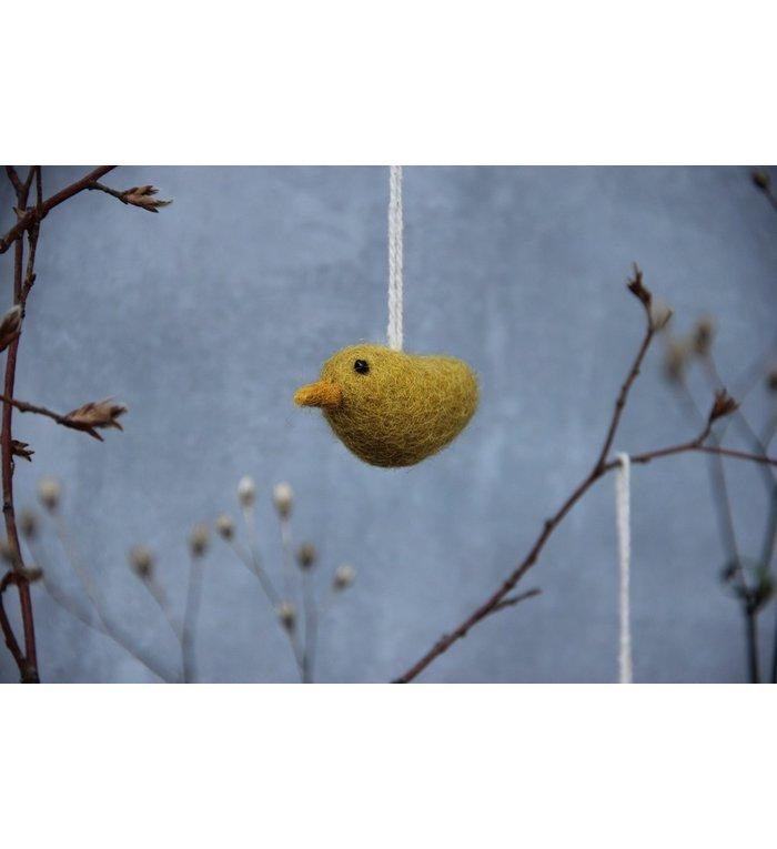 Én Gry & Sif 3 handgemaakte gele vogeltjes paashangers