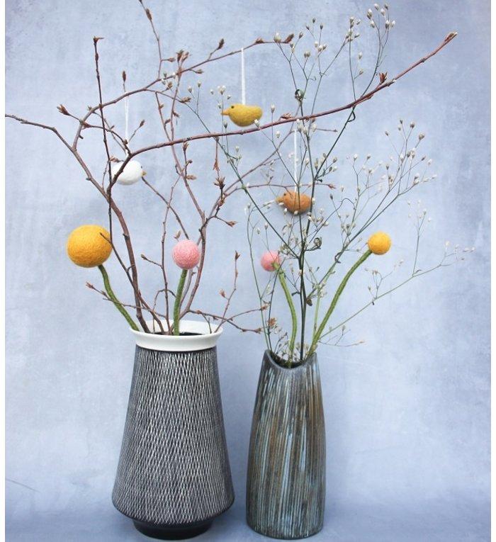 Én Gry & Sif groene vilten bloem 30 cm