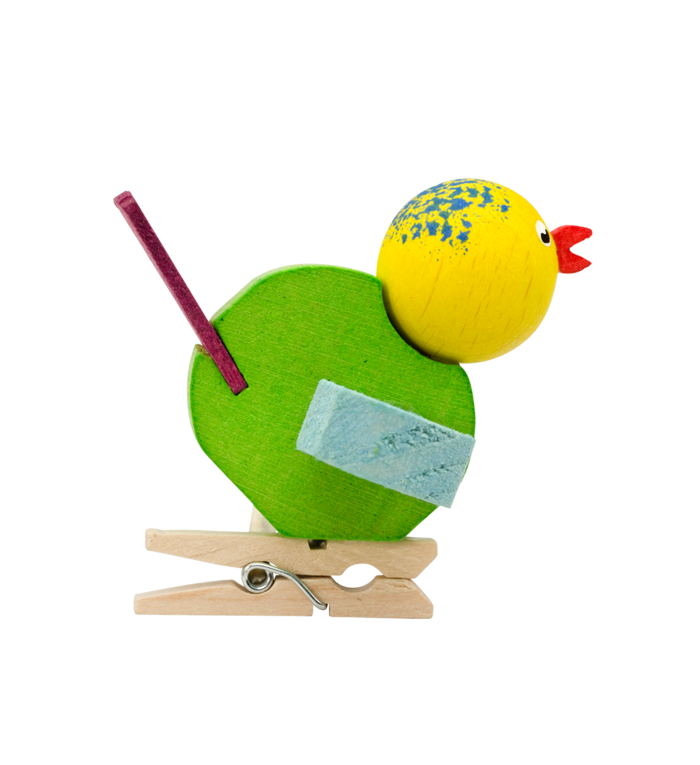 Graupner houten handgemaakte vogeltje op klemmetje