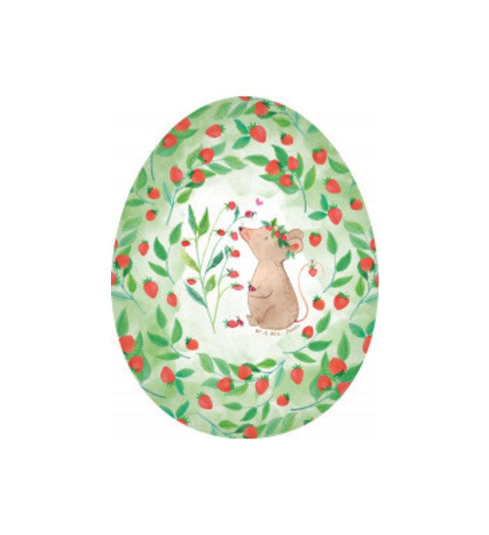 Nestler vulbaar paasei van karton 15 cm aardbeien muisje Mr. & Mrs. Panda