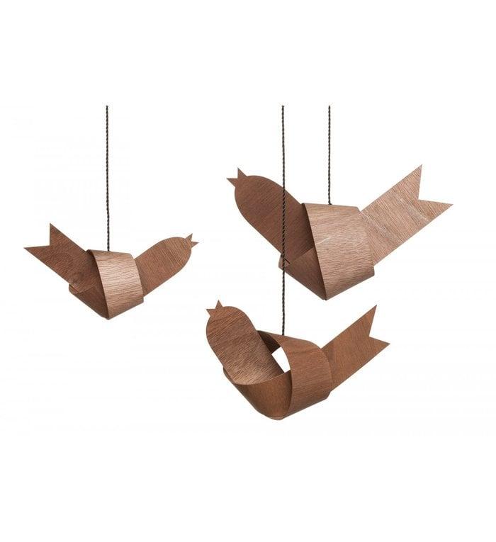 designimdorf set van 3 decoratie vogeltjes van notenhout