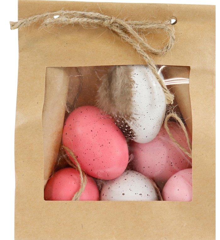 Set van 6 roze en witte paasei hangers