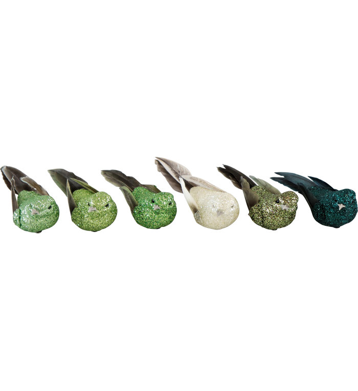 Set van 6 glitter vogeltjes in verschillende groen tinten op een klemmetje