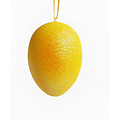 Geel glitter paasei 14 cm met ophanglint