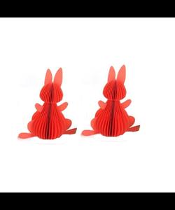 Twee Koraalrode Honeycomb Bunnies