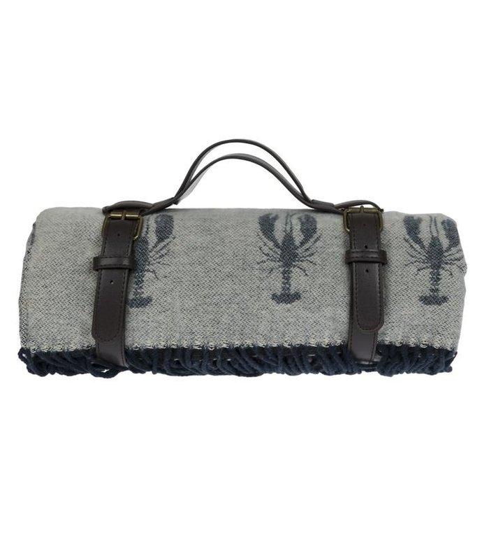 Sophie Allport blauwgrijs picknickkleed met kreeft patroon