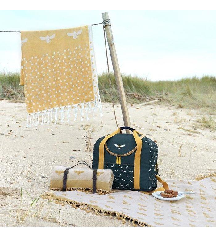 Sophie Allport citroengeel picknickkleed met bijen patroon