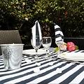 Les Jardins de la Comtesse blauw wit gestreept picknickkleed 280 x 140 cm