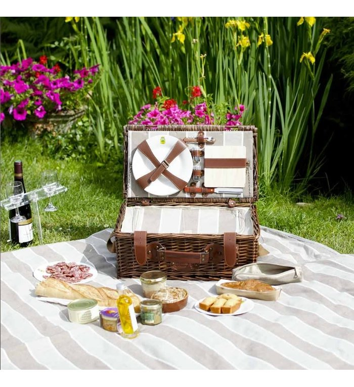 Les Jardins de la Comtesse lichtbruin en zandkleurig gestreept picknickkleed 140 x 140 cm