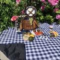 Les Jardins de la Comtesse blauw wit geruit picknickkleed 140 x 140 cm