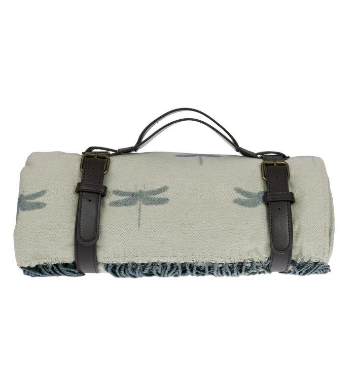 Sophie Allport picknickkleed met libellen patroon in salie groen
