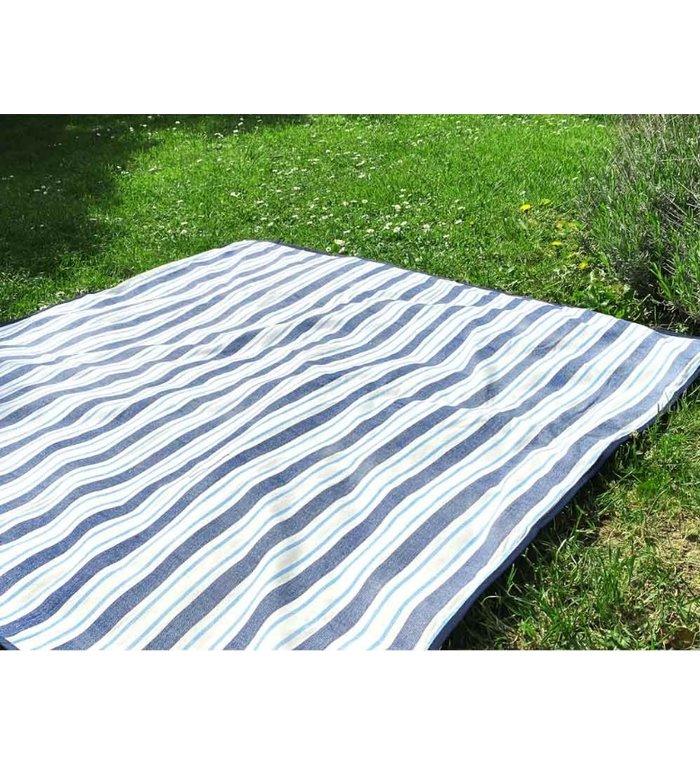 Les Jardins de la Comtesse lichtblauw, donkerblauw en wit gestreept picknickkleed 140 x 140 cm