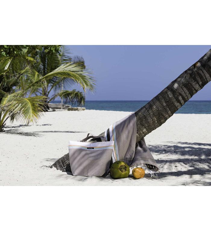 Simone et Georges beige Kikoy hamamdoek - strandlaken Nomad met badstof gevoerd