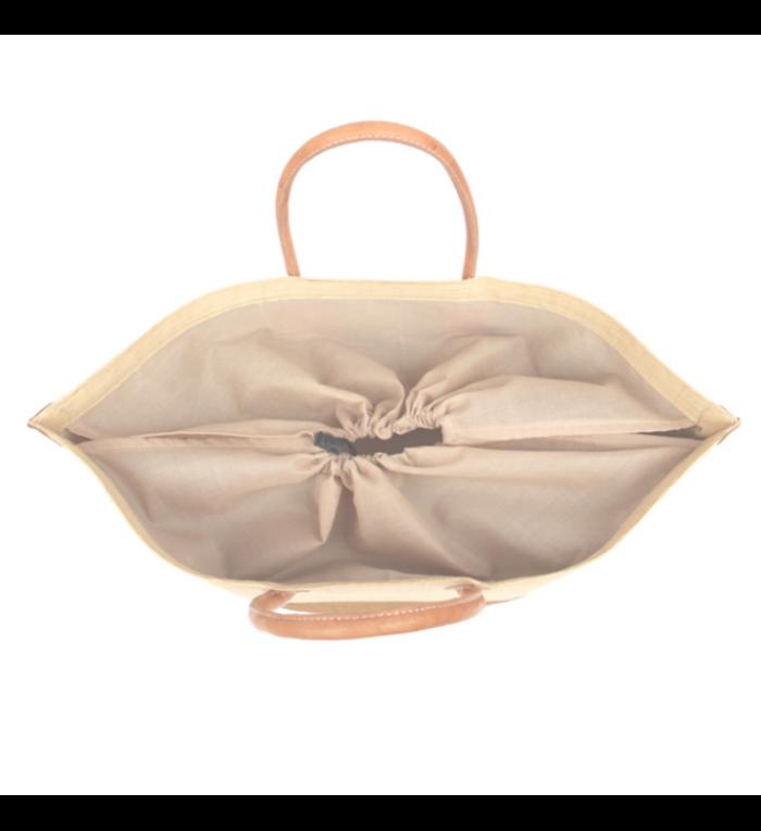 grote, handgemaakte strandtas twee kleuren saffraangeel en naturel