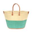 grote, handgemaakte strandtas twee kleuren turquoise en naturel