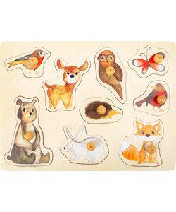 Houten puzzel met Bosdieren