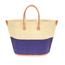 grote, handgemaakte strandtas twee kleuren blauw en naturel