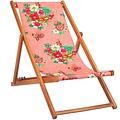 Vent de Bohème  tuinstoel - ligstoel - strandstoel van acaciahout met bohemien motief Hanami Koraal