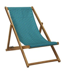 Ligstoel van Acaciahout Moorea Turquoise