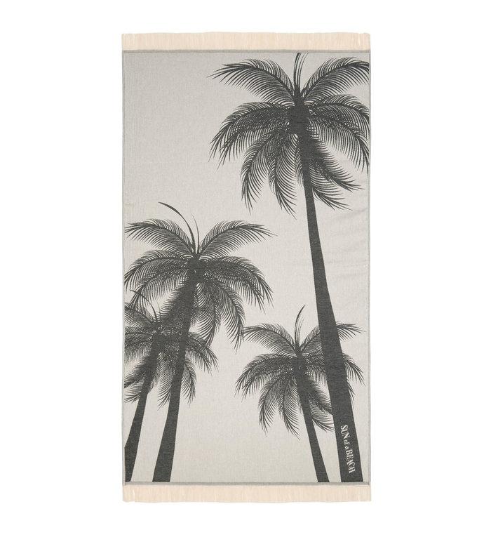Sun of a Beach  vederlichte zwarte palmbomen strandhanddoek - hamamdoek