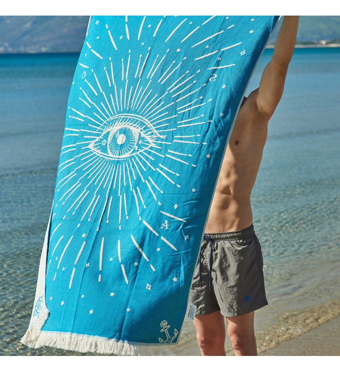 Sun of a Beach  vederlichte petrolblauw Derde Oog strandhanddoek - hamamdoek