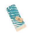 Sun of a Beach  vederlichte petrol blauwe strandhanddoek - hamamdoek met bladeren van palmbomen