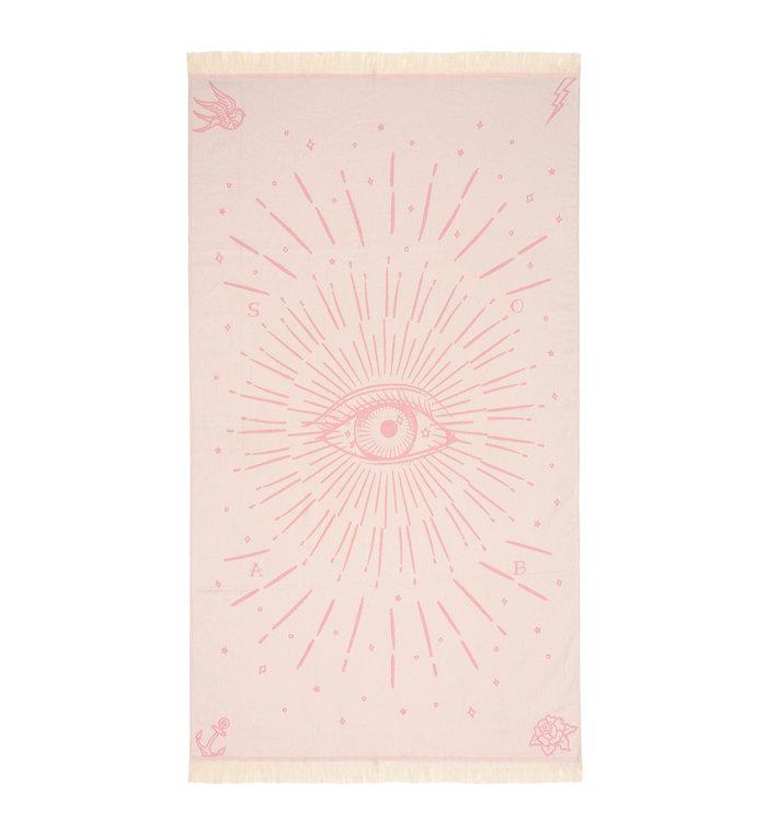 Sun of a Beach  vederlichte roze Derde Oog strandhanddoek - hamamdoek