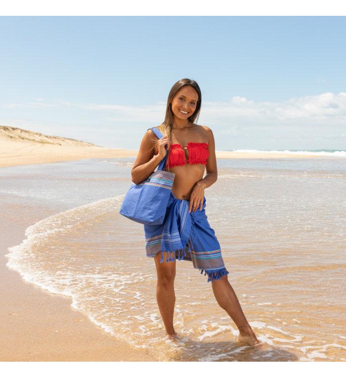 Simone et Georges donkerblauwe katoenen strandtas
