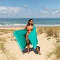 Simone et Georges turquoise Kikoy hamamdoek - strandlaken Martin met badstof gevoerd