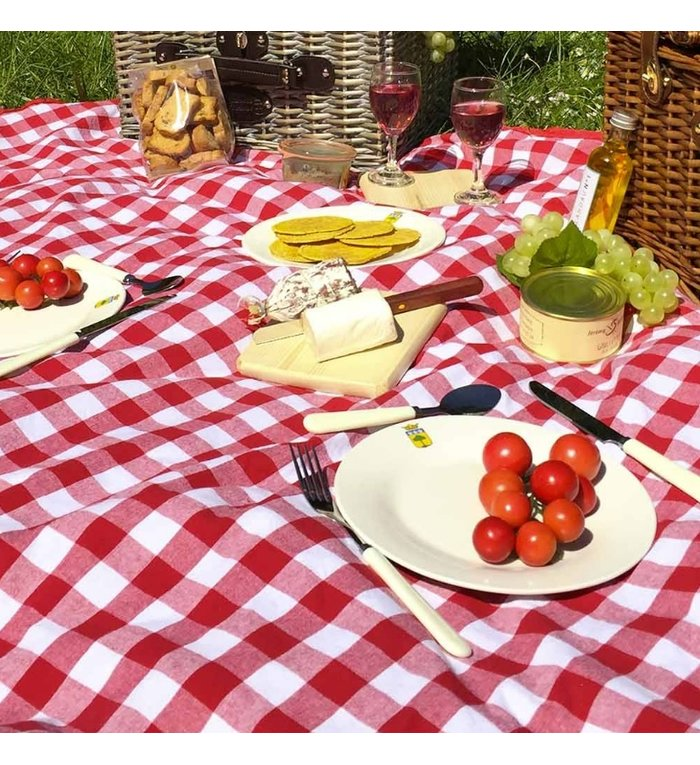 Les Jardins de la Comtesse rood wit geblokt picknickkleed 280 x 140 cm
