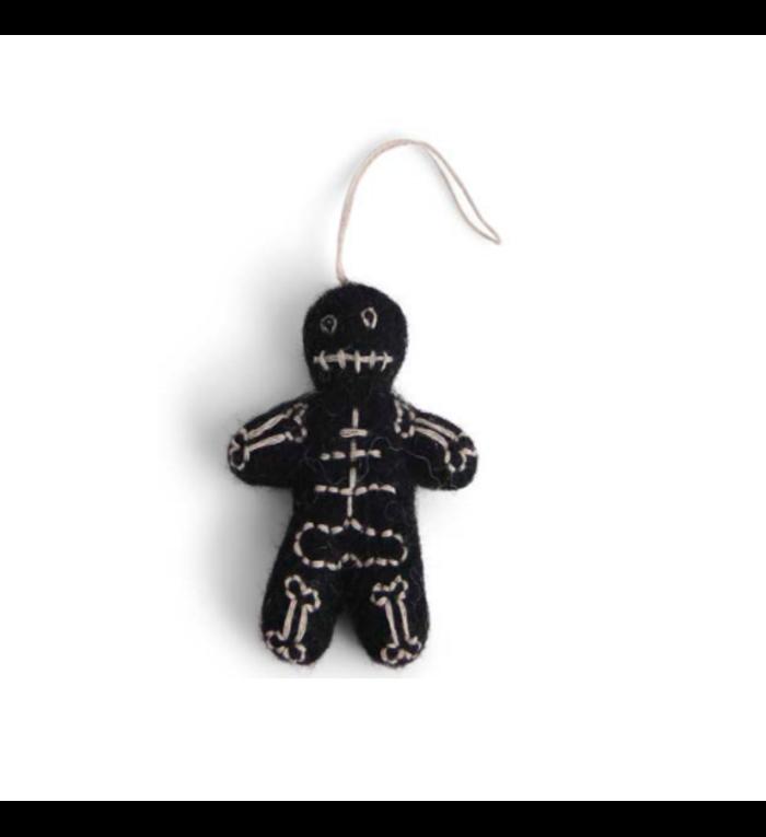 Én Gry & Sif handgemaakte vilten skelet Halloween versiering - decoratie hangertje