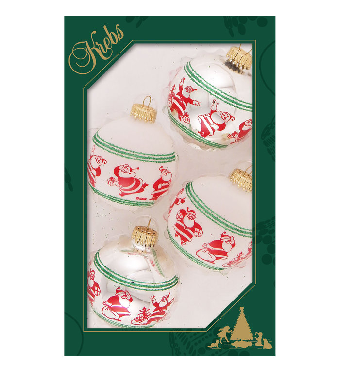 Glazen kerstballen met Happy Santa's zilver en wit 7 cm