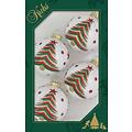 Glazen witte kerstballen met gekleurde kerstboom 7 cm