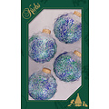 Glazen transparante kerstballen met blauw & groene glittermix - 7 cm