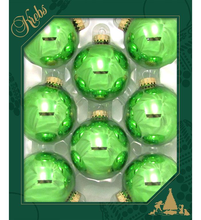 Glazen glanzende kerstballen limoengroen jade  effen 7 cm
