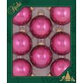 Glazen glanzende kerstballen malaga roze  effen 7 cm