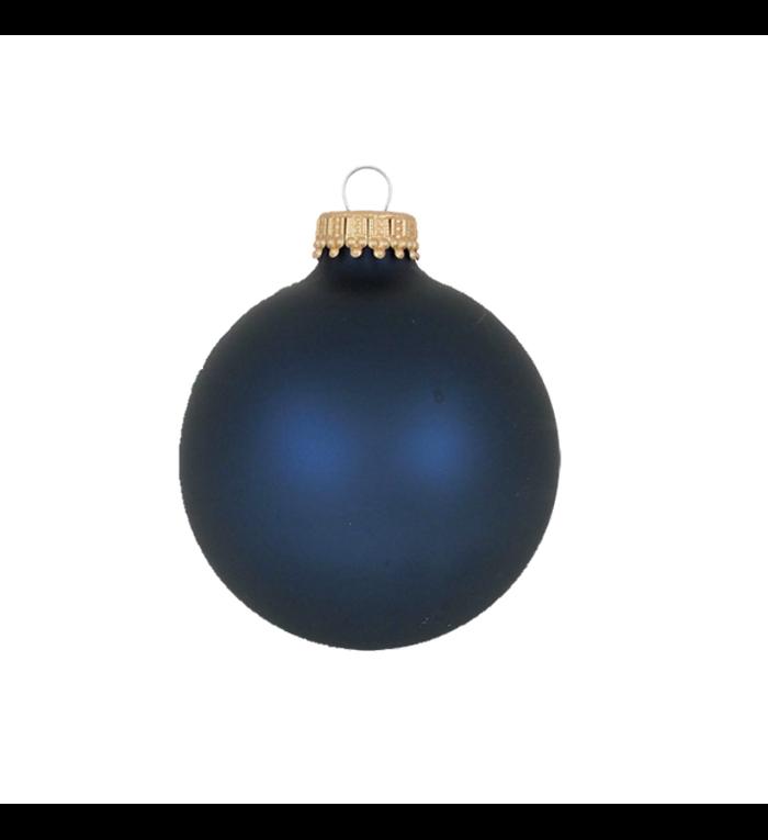 Glazen matte nacht blauwe kerstballen effen 7 cm