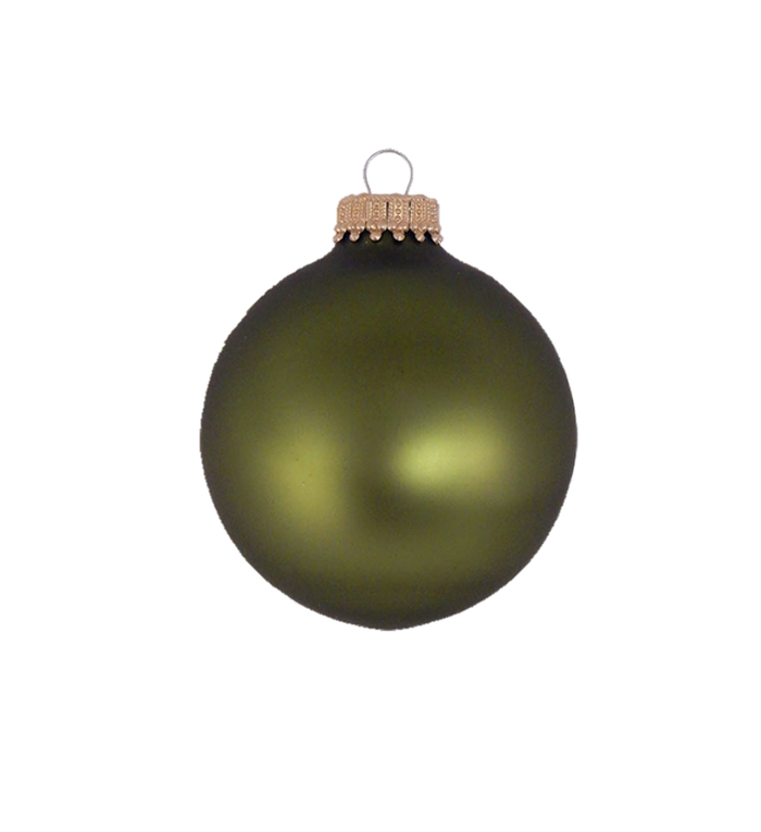Glazen matte kerstballen bos groen effen 7 cm