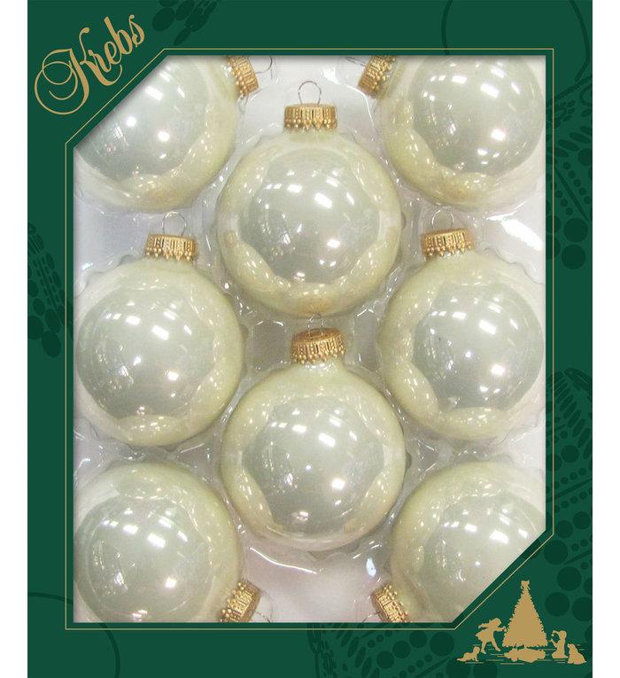Glazen glanzende kerstballen parel kleurig  effen 7 cm