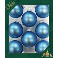 Glazen matte kerstballen ijs blauw effen 7 cm