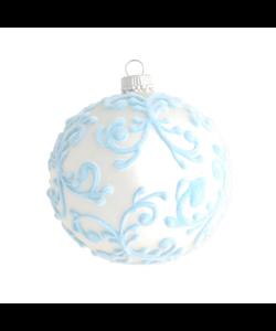 Kerstbal Zilver Mat met Lichtblauw Design