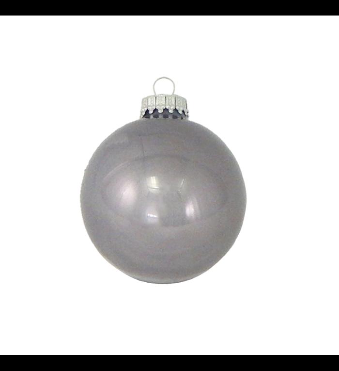 Glazen glanzende kerstballen koala grijs effen 7 cm
