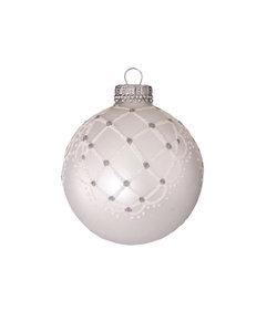 Kerstballen Zilver Parelkleur met Chique Design