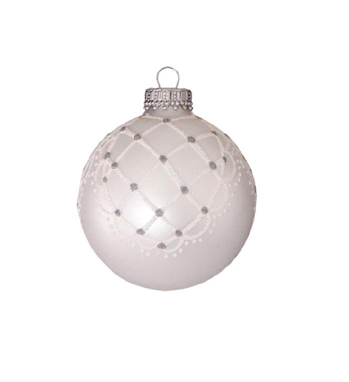 Glazen matte kerstballen zilver parel kleur met chique design 7 cm