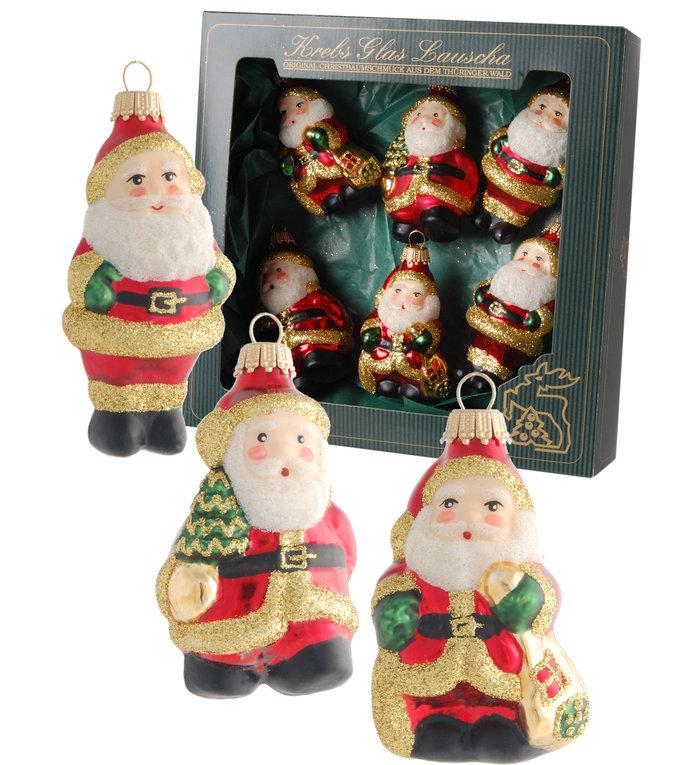 Glazen kerstmannen kerstboomhangers rood en goud - 7-9 cm - set van 6