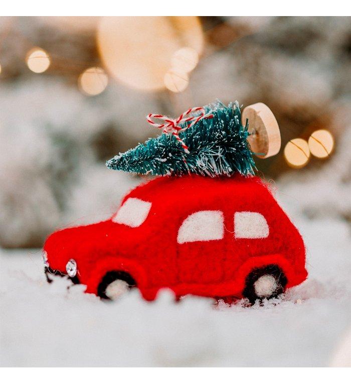 Kerst auto vilten kerstboom hanger 11 cm