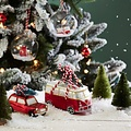 Kerst camper glazen kerstboom hanger 15 cm