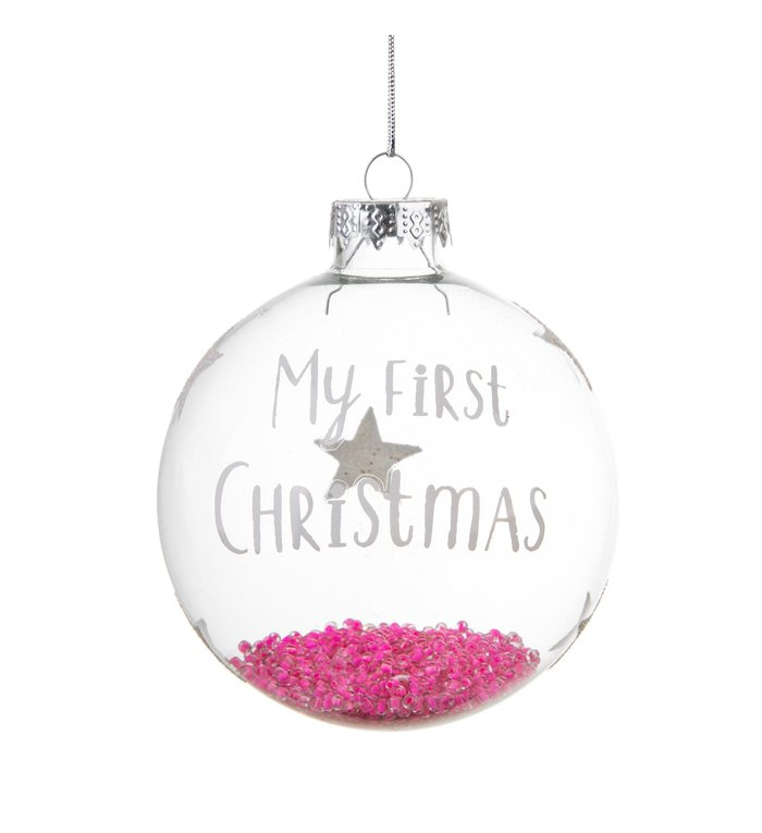 glazen kerstbal baby's eerste kerstmis meisje